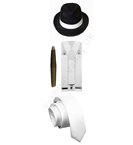 Glossy Look Men's Gangster Pimp Hat Braces Tie Cigar 1920's Mafia Costume One Size Fits Most White With -