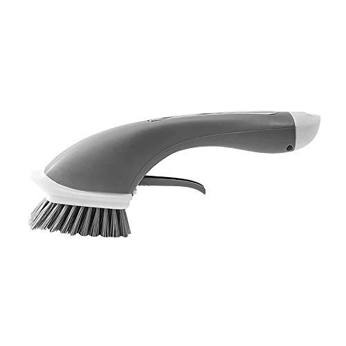 Soap Dispensing Dish Brush, Pan Brush Automatic Add Liquid Kitchen Cleaning Brush Home Kitchen Grill Bowl Pot Pan Clean Tool|Grey