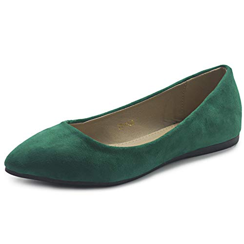 Ollio Women's Ballet Comfort Light Faux Suede Multi Color Shoe Flat ZM1038(7.5 B(M) US, Green)]()