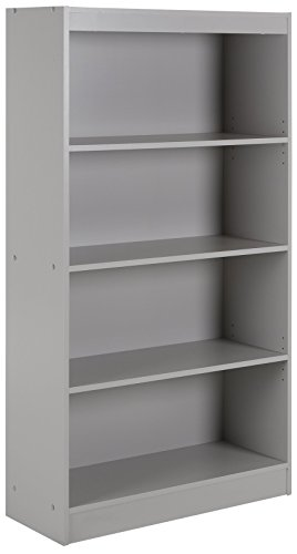 Painted Distressed Wood Bookcase - South Shore 4-Shelf Storage Bookcase, Soft Gray
