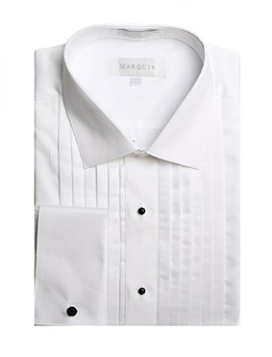 Spread Collar Tuxedo (Marquis Men's White French Cuff Spread Collar 1/2 Inch Pleats Tuxedo Shirt)