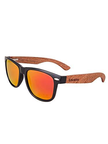 Kakacoo Holz Sonnenbrille für Herren Damen/Polarisierte Sonnenbrille mit UV-Schutz/Sonnenbrille mit Holzbügeln (Orange)