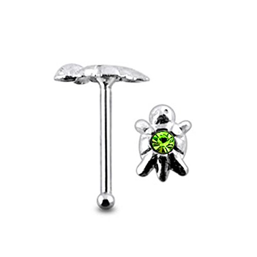 Light Green Jeweled Turtle Top 22 Gauge - 6MM Length Silver Ball End Nose Stud Nose Piercing