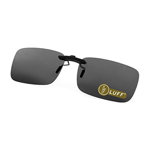 LUFF Polarized Unisex Clip on Sunglasses for Prescription Eyeglasses-Good Clip Style Sunglasses for Myopia Glasses Outdoor/Driving/Fishing (Black) ...