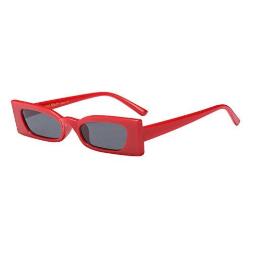 Rectangle Zhhlinyuan UV400 para de de Mujeres Diseño Retro Sol Gafas Ladies Red Moda zBpznvr