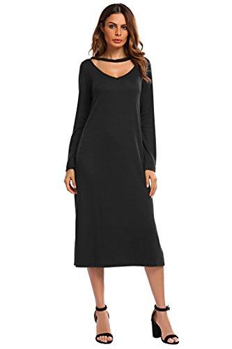 Pinsparkle Women V Neck Long Sleeve Casual Autumn Dress with Split, Black, L