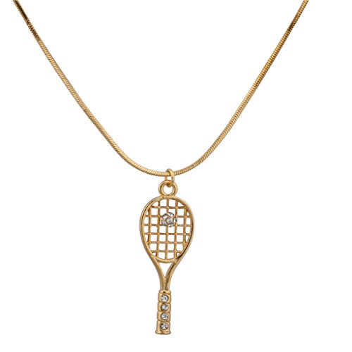 Lux Accessories Pave Tennis Racket Ball Simple Sport Pendant Necklace
