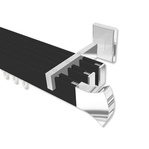 Eckige Gardinenstange mit Innenlauf  in Schwarz kantige Ausführung Chrom