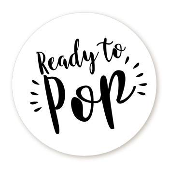 Stripe Ready to Pop Stickers   48 Stickers   Ready To Pop Baby Shower Stickers for Popcorn   1.67 Inches   Ready to Pop Stickers for Boy and Girl (Black & White) ()
