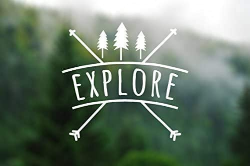 Explore Wanderlust Stickers Vinyl Decal 5.5x5.25 White Styling Decoration for Car Accessories Laptop Wall Tool Box Removeable Motorcycle Bumper BKS