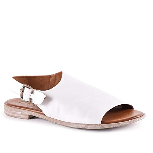 Bueno Women's Angelina Sandal in White W/Brown, 35 EU