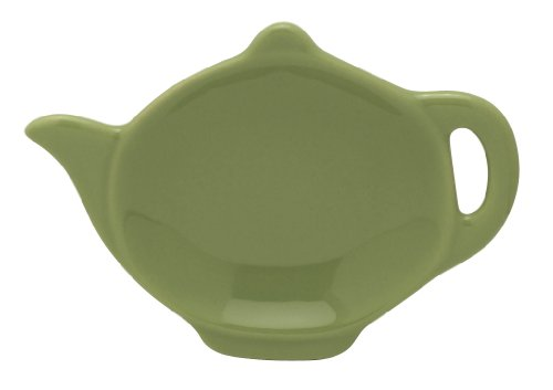 HIC Teapot-Shaped Tea Bag Holder and Resting Caddy, High-Fired Ceramic, Sage Green, 4.5-Inches (Teapot Shaped Cookies)