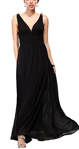 SHUNLIU Vestidos de Mujer Largos de Fiesta Encantador Vestido de Noche Vestidos de Fiesta sin Mangas Elegantes Negro
