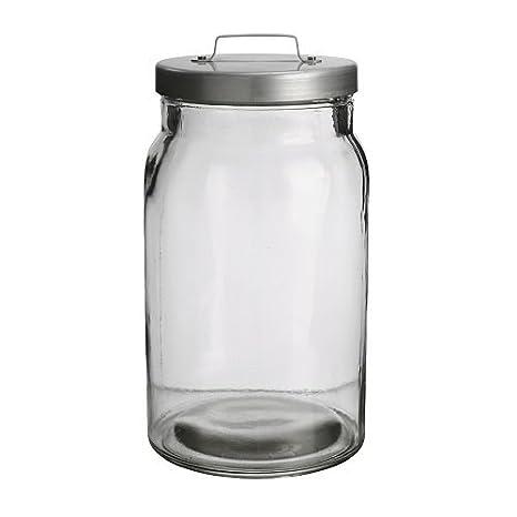 IKEA BURKEN-Barattolo in vetro trasparente, con coperchio, in ...
