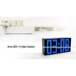 Yosoo Large LED 4 Digital Version Alarm Calendar Wall / Desk Clock with Power Cord, Blue