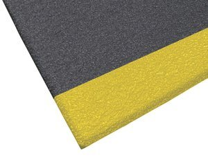 2' x 3' 3/8'' Thick Black/Yellow Safety Soft Foot™ w/Dura Pebble Anti-Fatigue Mat