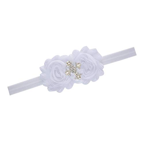 Christening Baptism Cross White Headband Infant Baby Newborn Girl Gift]()