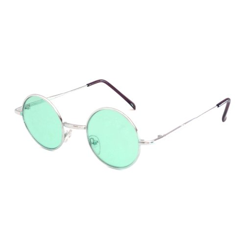 John Lennon Vintage Style Round Silver Party Shades Sunglasses GREEN - 70s Vintage Glasses
