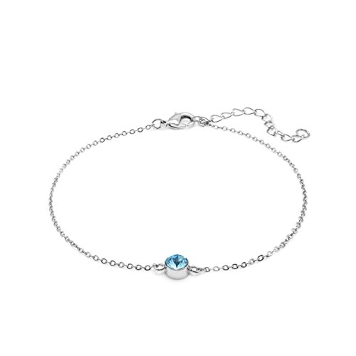 ite Gold Plated 23-25cm Adjustable Length Anklet with 1 Swarovski Aquamarine Crystal 6mm (White Gold Cable Bracelet)