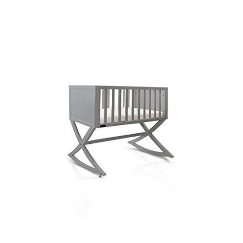 Green Frog, Allegro Cradle Handcrafted Contemporary Wood Baby Cradle Premium Pine Construction Rocking and Stationary Modern Grey Color