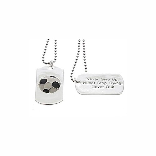 Soccer Dog Tag Never Give Up Necklace, 24 inch Ball Chain