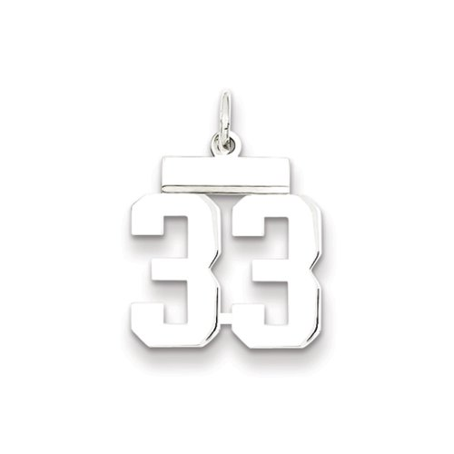 Sterling Silver, Athletic Collection Medium Polished Number 33 Pendant (Silver Bow Pendant)