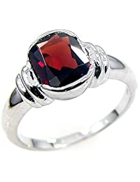 2.15ctw Genuine Garnet Oval & Solid .925 Sterling Silver Rings