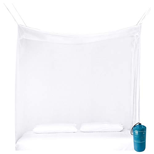 EVEN NATURALS Luxury Mosquito Net for Bed Canopy, Large Tent Double to Queen, Camping Screen House, Finest Holes Mesh 380, Square Netting Curtain, 2 Entries, Easy to Install, Hanging Kit, Storage Bag