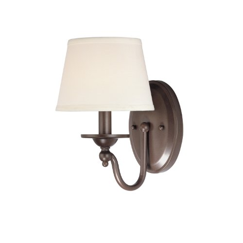 Westinghouse Lighting 6945100 One-Light Interior Wall Fixture, Saddle Bronze Finish with Cream Fabric Shade