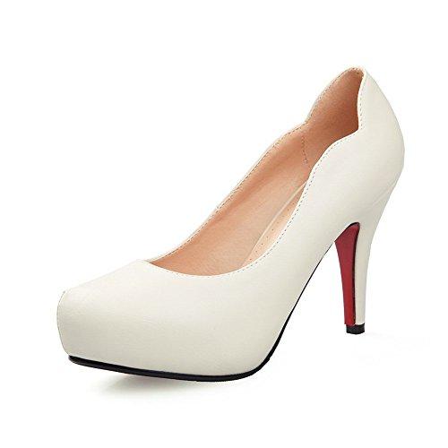 Balamasa Meisjes Effen Hoge Hakken Nagebootst Lederen Pumps-schoenen Beige