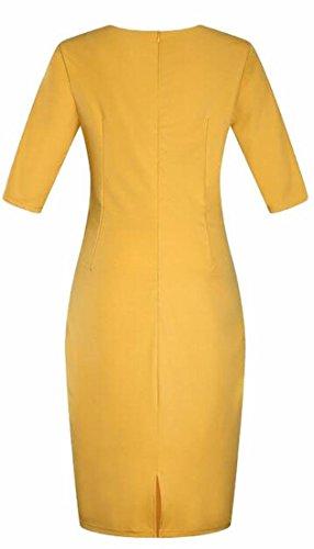 Plus Yellow Womens Jaycargogo Sleeve Round Half Pencil Dress Neck Size vww7q04