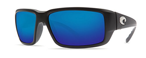 Costa del Mar Unisex-Adult Fantail TF 11 OBMGLP Polarized Iridium Rectangular Sunglasses, Black, 59.3 mm