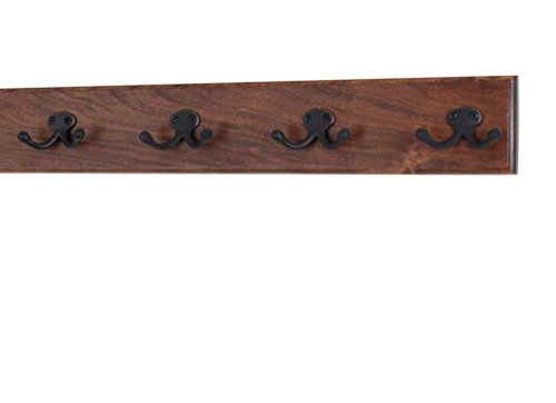 Coat Wall Chr Mounted - Solid Cherry Wall Mounted Coat Rack - Oil Rubbed Bronze Double Style Coat Hooks - Made in the USA (Mahogany, (20