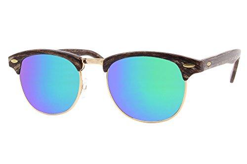 Cheapass Sunglasses Clubmaster Miroitant Rétro Femmes Hommes Marron5