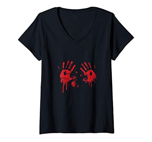 Womens Bloody Hand-Prints Valentine Halloween Butcher Costume Top V-Neck T-Shirt