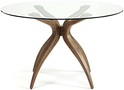 Round Glass Top Walnut Dining Table