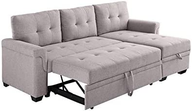 BOWERY HILL Light Gray Linen Reversible/Sectional Sleeper Sofa
