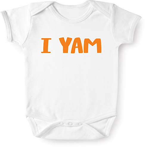 WHAT ON EARTH Unisex I Yam! Infant Snapsuit - White Short Sleeve Baby Romper - 6 ()
