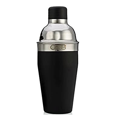 Leak Proof Black Stainless Steel Cocktail Shaker - 18oz Single Drink Size - Professional Grade Barware - Hand Inspected in USA for Quality