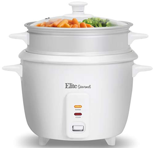 Elite Gourmet ERC-003ST Electric Rice Cooker & Steamer w/Automatic Keep Warm Makes Soups, Stews, Grains, Cereals, 6 Cooked (3 Cups Uncooked), 6 Cups Cups), White