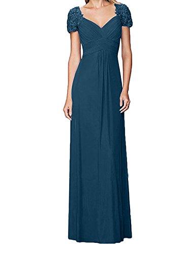 Charmant Blau Linie Rock Dunkel Brautmutterkleider Damen Tinte Abendkleider Elegant Chiffon Lang A Rot Spitze Partykleider HWrHRwTUq