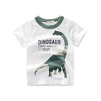 Dinosaur Pattern Cotton T-Shirt for Boy Kids Short Sleeve Polo Dress 140cm