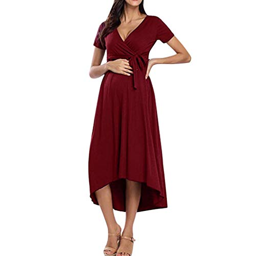 Forthery Women's Summer V-Neck Maternity Pregnanty Dress Short Sleeve Lrregularity Bandage Solid Dress with Belt(Wine,XL=US 10) -