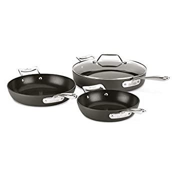 Image of All-Clad H911S464 Essentials Nonstick Skillet set, 4-Piece, Grey Home and Kitchen