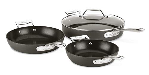 All-Clad H911S464 Essentials Nonstick Skillet set, 4-Piece, Grey