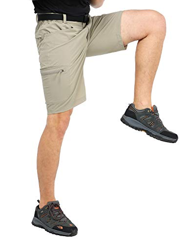 (MIER Men's Stretchy Hiking Shorts Quick Dry Nylon Cargo Shorts with 5 Pockets, Water Resistant, Lightweight, Rock Grey, L)