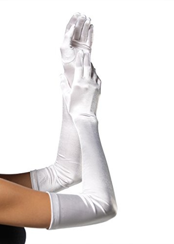 Leg Avenue Women's Long Satin Gloves, White, One Size -