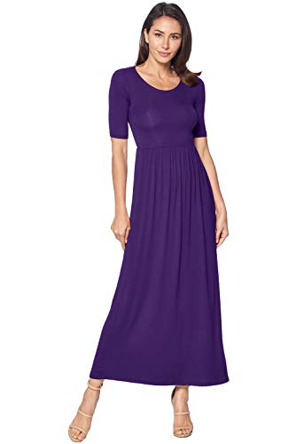 82 Days Women's Casual 3/4 Sleeve Long Maxi Dress with Elastic Waist Made in USA - Eggplant M