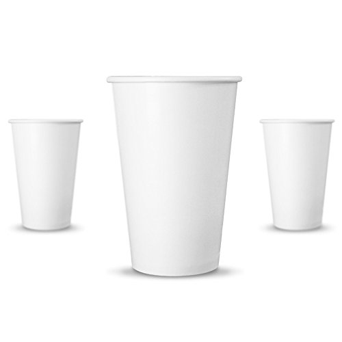 - SENARR Paper Coffee Cups Hot Drinks, Coffee, Tea (16 ounces | 100 Pack, White)
