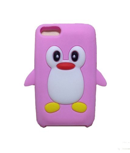 (iPod Touch 2nd/3rd Gen Case - Tsmine Cute 3D Penguin Cartoon Soft Silicone Case Back Cover Protective Skin for Apple iPod Touch 2nd/3rd Gen, Pink)